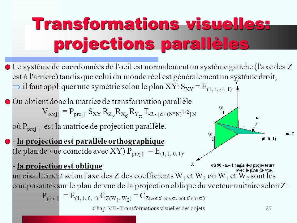 Transformations visuelles: projections parallèles