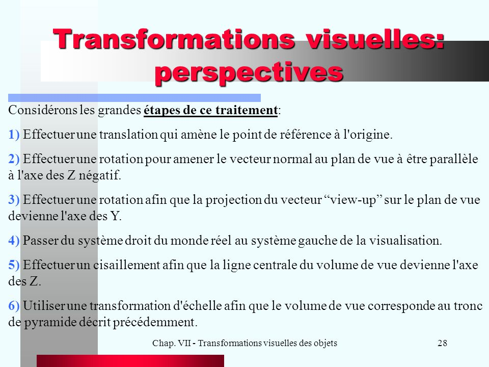 Transformations visuelles: perspectives
