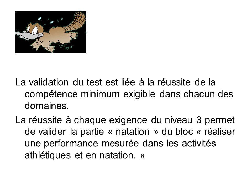 La validation du test est liée à la réussite de la compétence minimum exigible dans chacun des domaines.