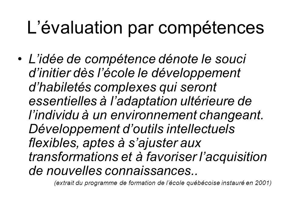 L'évaluation par compétences