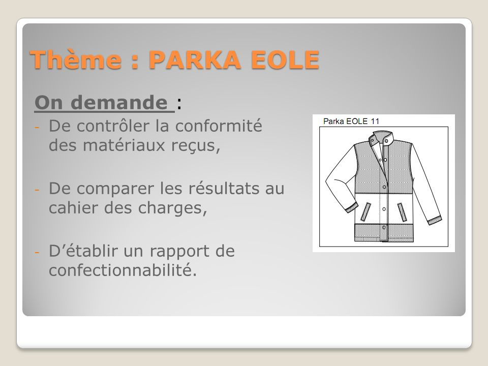 Thème : PARKA EOLE On demande :