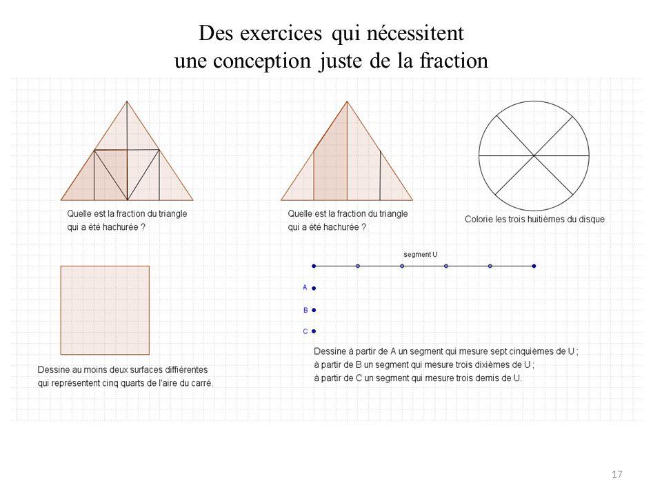 Des exercices qui nécessitent une conception juste de la fraction