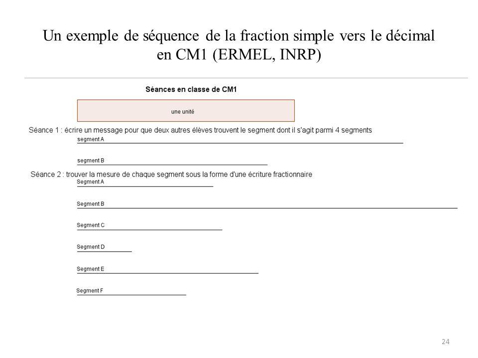 Un exemple de séquence de la fraction simple vers le décimal en CM1 (ERMEL, INRP)