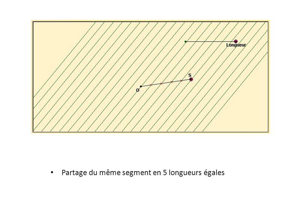 Partage du même segment en 5 longueurs égales