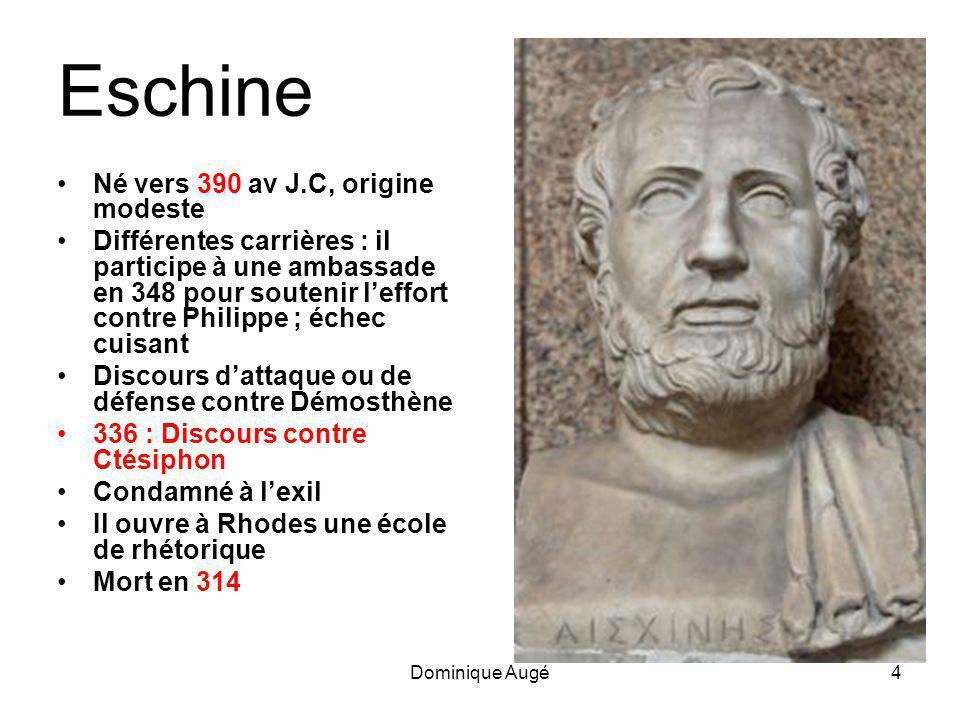 Eschine Né vers 390 av J.C, origine modeste