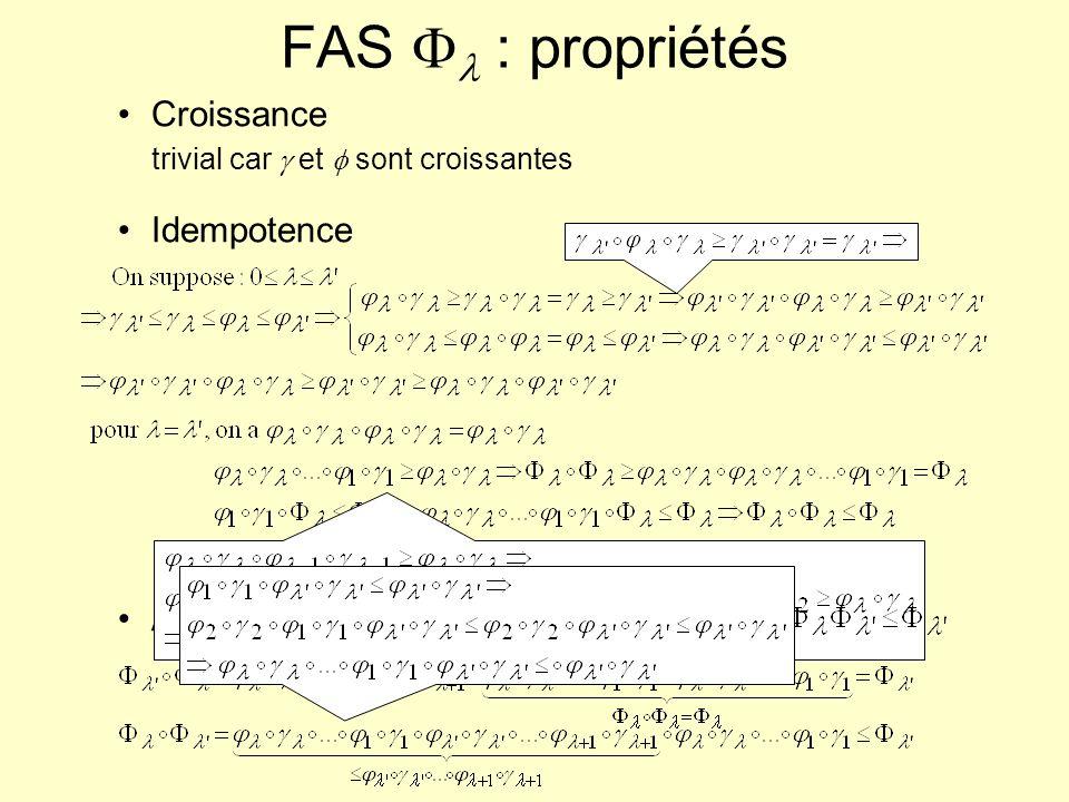 FAS Fl : propriétés Croissance trivial car g et f sont croissantes