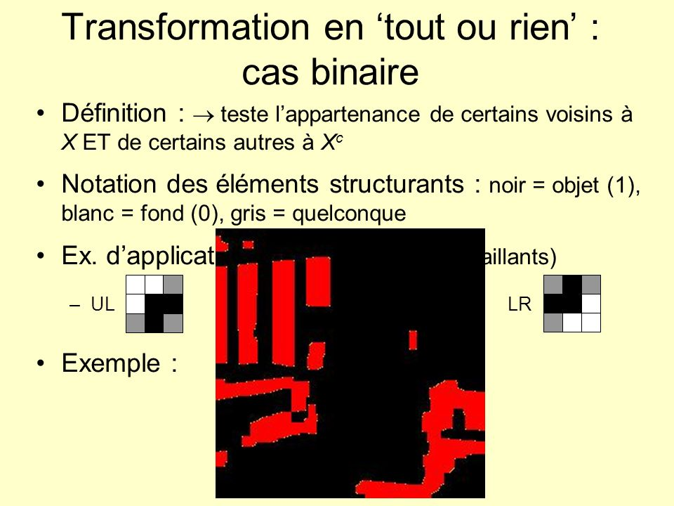 Transformation en 'tout ou rien' : cas binaire
