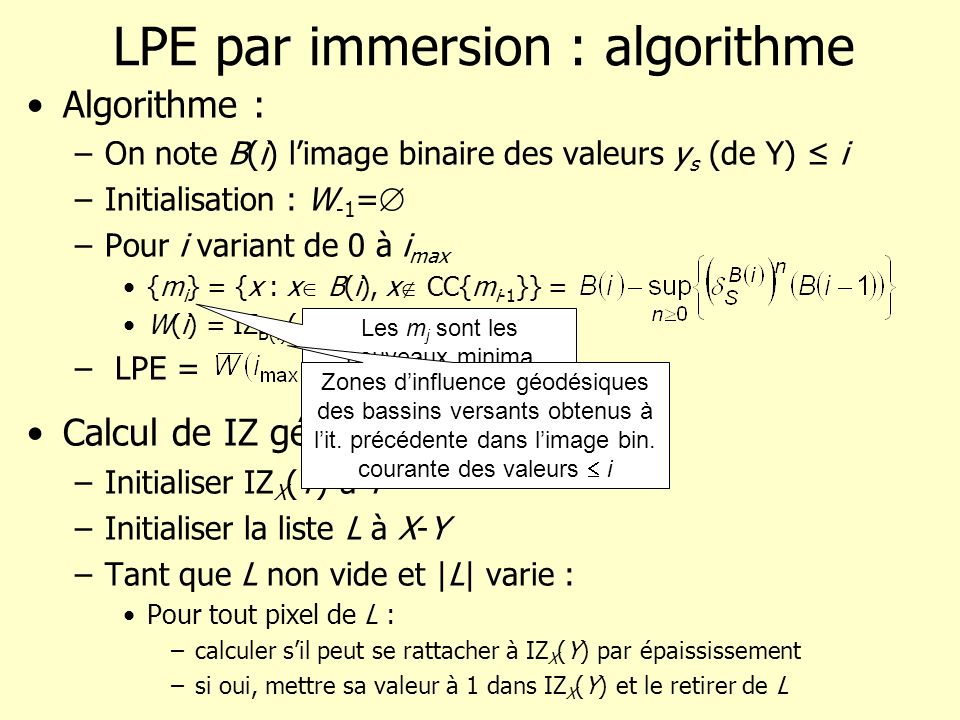 LPE par immersion : algorithme