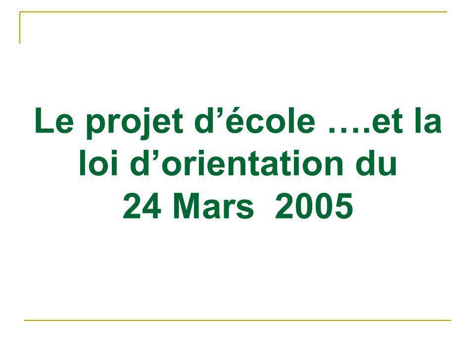 Le projet d'école ….et la loi d'orientation du 24 Mars 2005