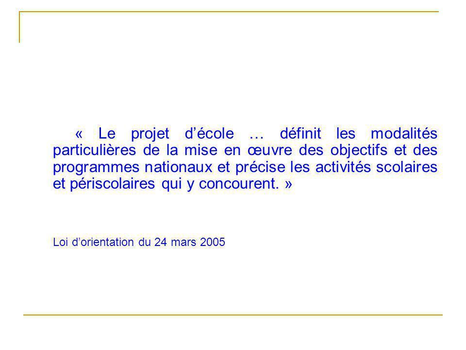« Le projet d'école … définit les modalités particulières de la mise en œuvre des objectifs et des programmes nationaux et précise les activités scolaires et périscolaires qui y concourent. »