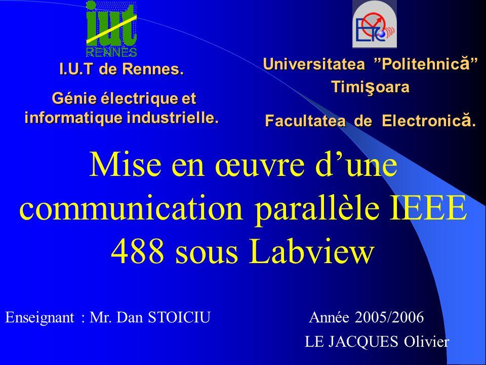 Mise en œuvre d'une communication parallèle IEEE 488 sous Labview