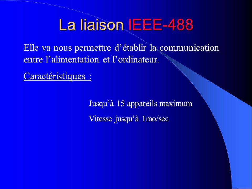 La liaison IEEE-488Elle va nous permettre d'établir la communication entre l'alimentation et l'ordinateur.