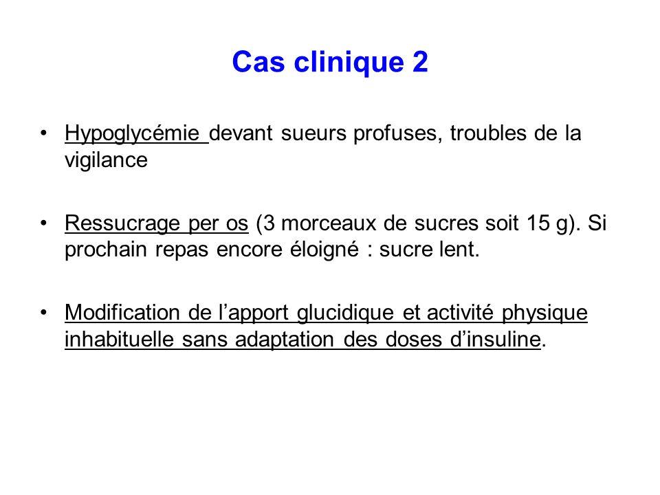 Cas clinique 2Hypoglycémie devant sueurs profuses, troubles de la vigilance.