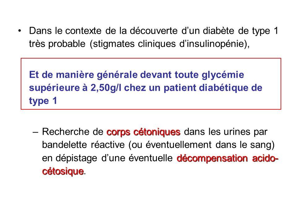 Dans le contexte de la découverte d'un diabète de type 1 très probable (stigmates cliniques d'insulinopénie),
