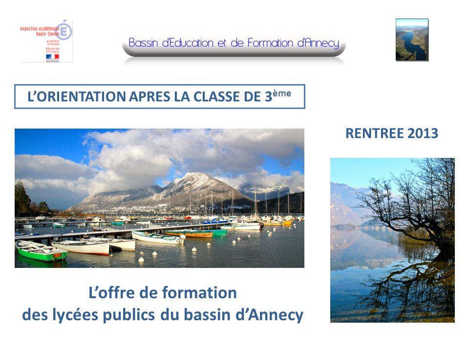 L'offre de formation des lycées publics du bassin d'Annecy