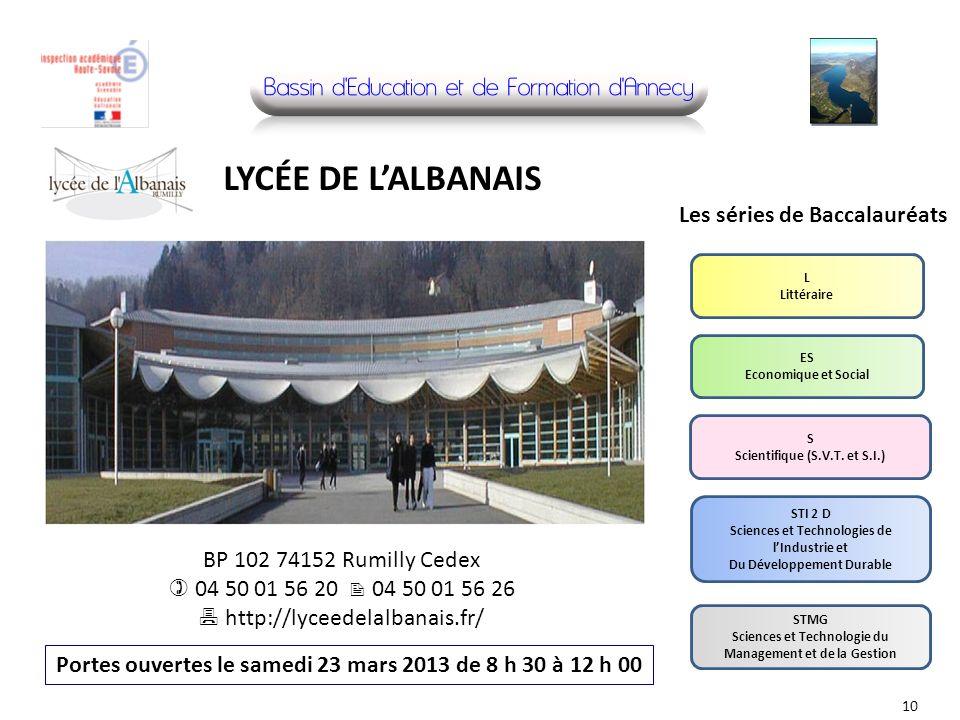 LYCÉE DE L'ALBANAIS Les séries de Baccalauréats