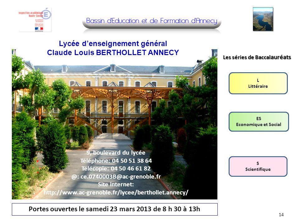 Lycée d'enseignement général Claude Louis BERTHOLLET ANNECY