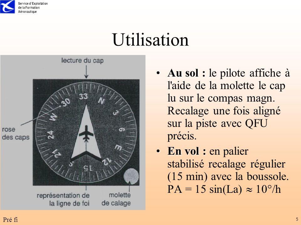Utilisation Au sol : le pilote affiche à l aide de la molette le cap lu sur le compas magn. Recalage une fois aligné sur la piste avec QFU précis.