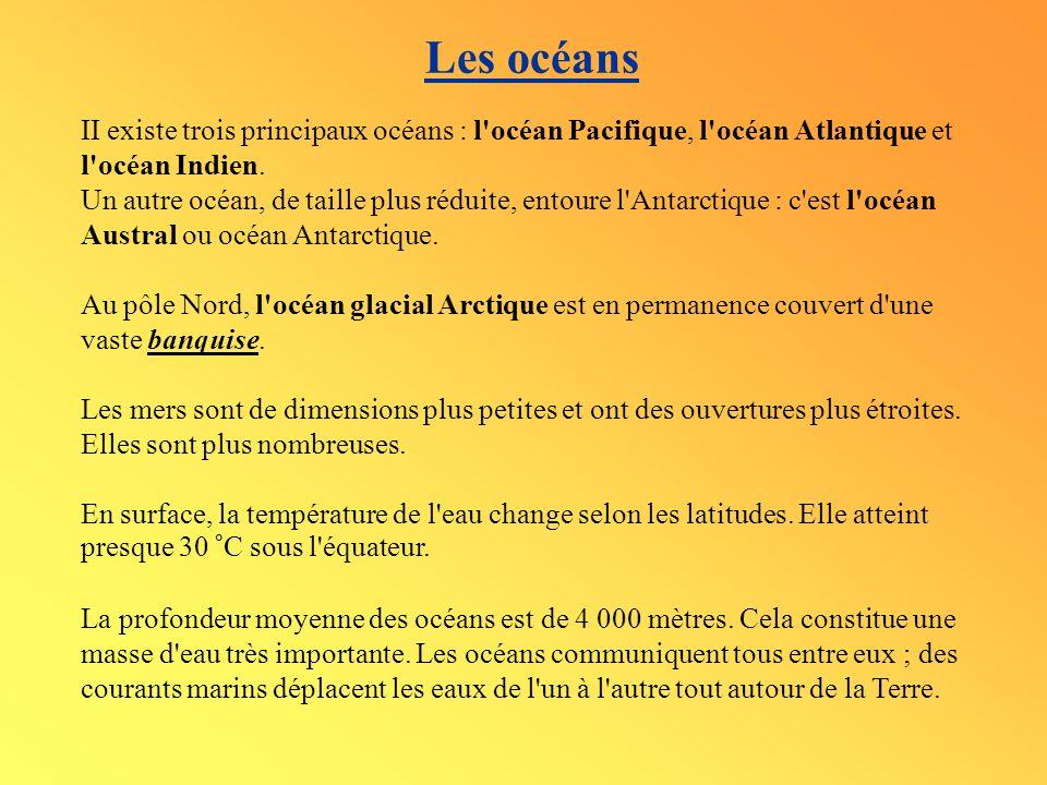 Les océans II existe trois principaux océans : l océan Pacifique, l océan Atlantique et l océan Indien.