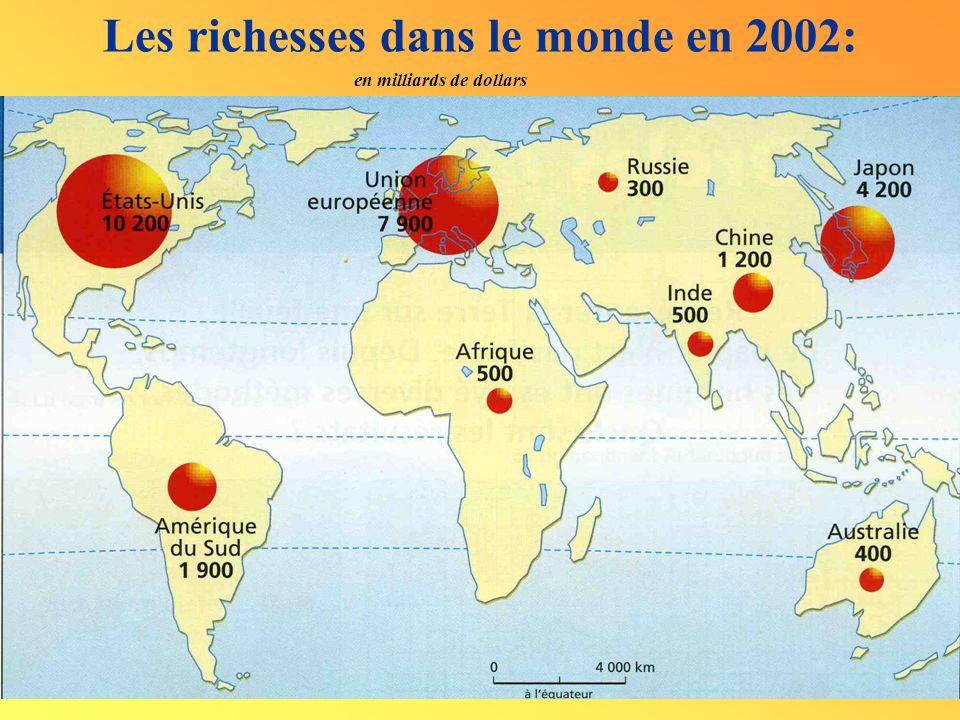 Les richesses dans le monde en 2002: