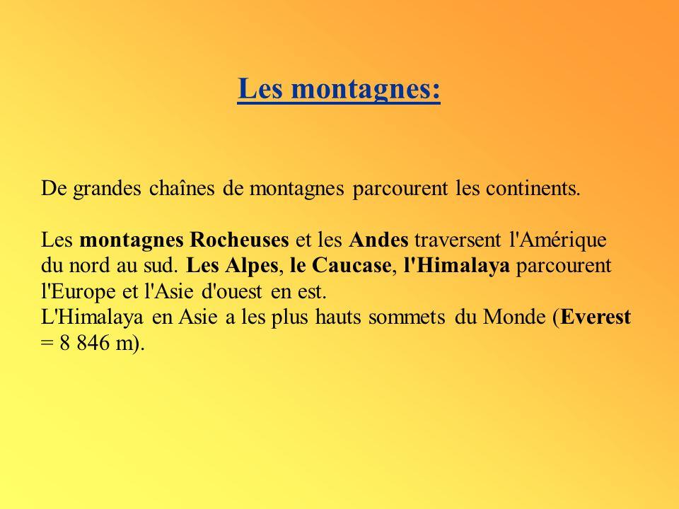 Les montagnes: De grandes chaînes de montagnes parcourent les continents.