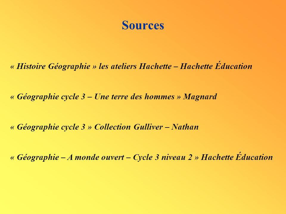 Sources « Histoire Géographie » les ateliers Hachette – Hachette Éducation. « Géographie cycle 3 – Une terre des hommes » Magnard.