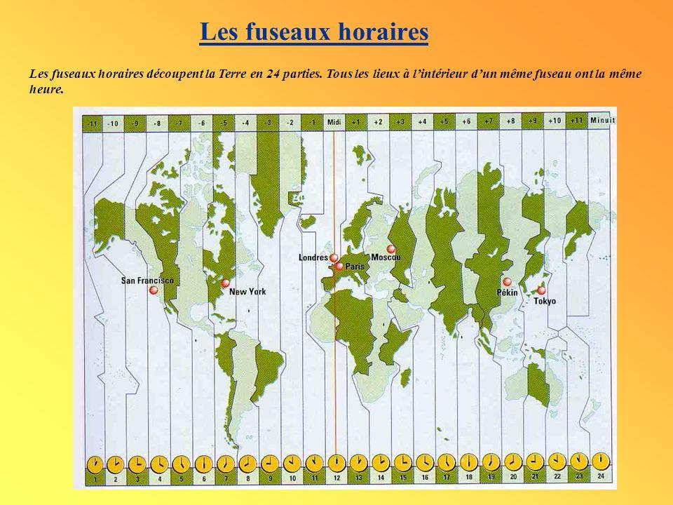 Les fuseaux horaires Les fuseaux horaires découpent la Terre en 24 parties.