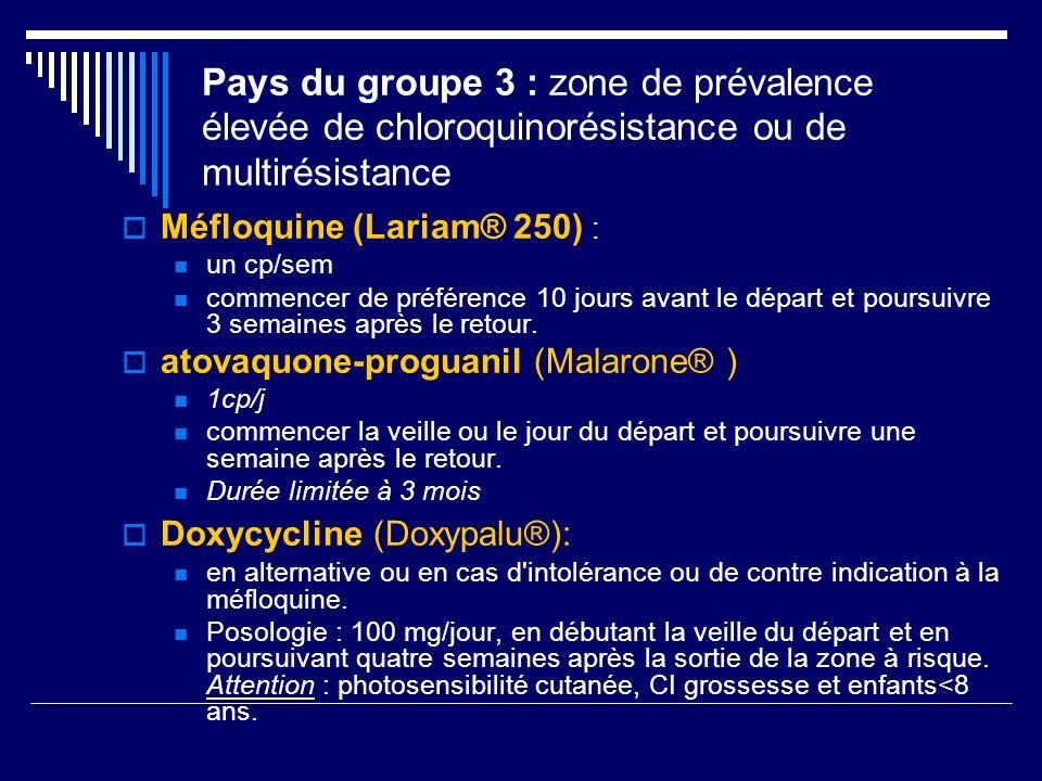 Pays du groupe 3 : zone de prévalence élevée de chloroquinorésistance ou de multirésistance