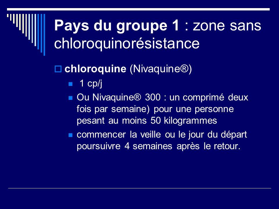 Pays du groupe 1 : zone sans chloroquinorésistance