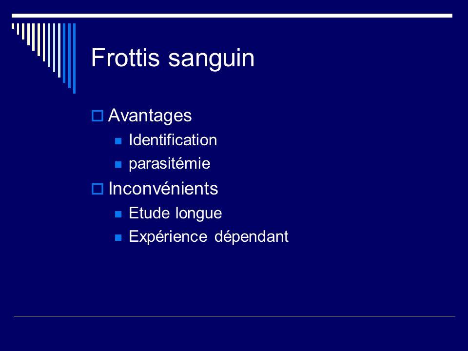Frottis sanguin Avantages Inconvénients Identification parasitémie