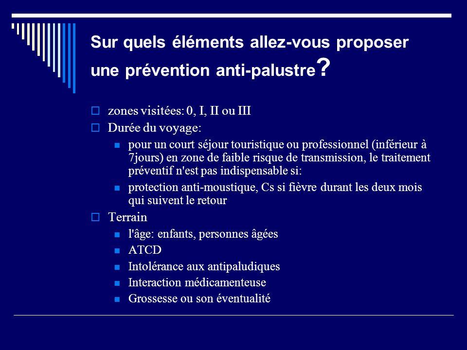 Sur quels éléments allez-vous proposer une prévention anti-palustre