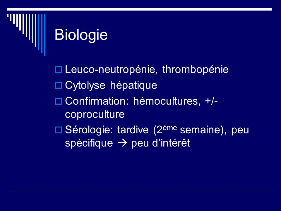 Biologie Leuco-neutropénie, thrombopénie Cytolyse hépatique