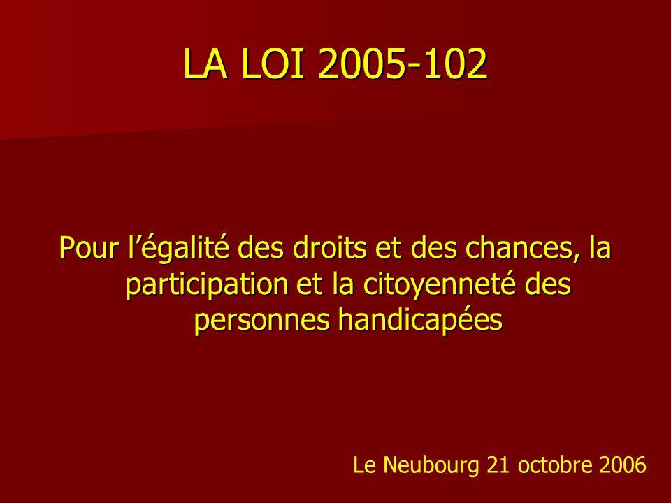 LA LOI 2005-102Pour l'égalité des droits et des chances, la participation et la citoyenneté des personnes handicapées.