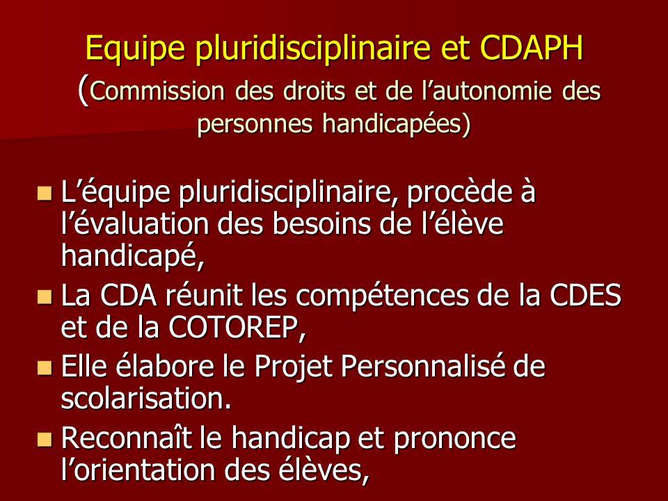 Equipe pluridisciplinaire et CDAPH (Commission des droits et de l'autonomie des personnes handicapées)