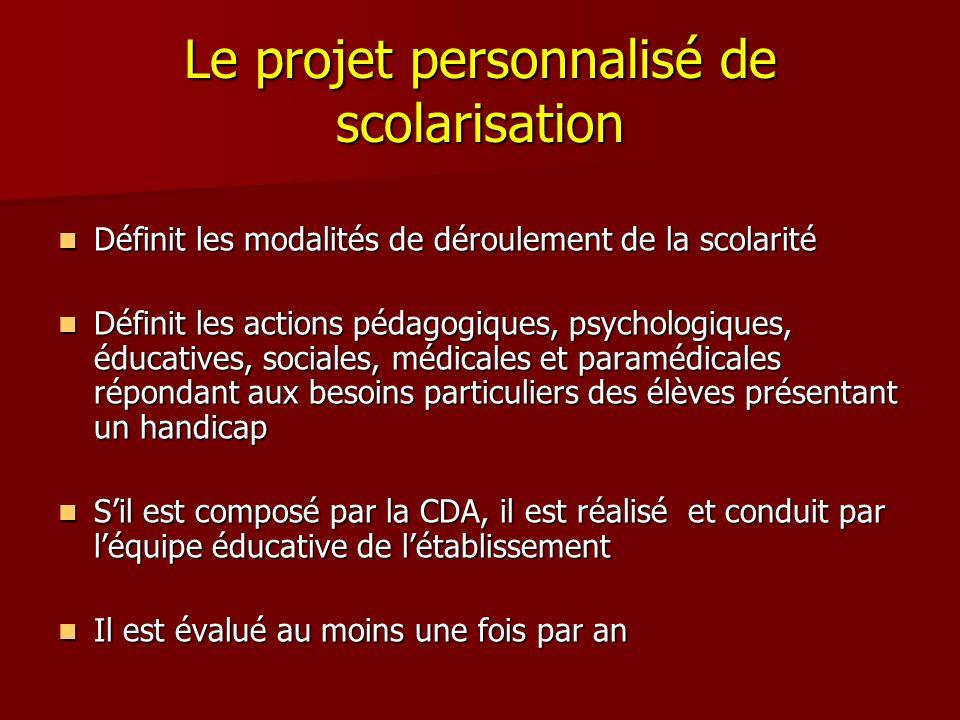 Le projet personnalisé de scolarisation