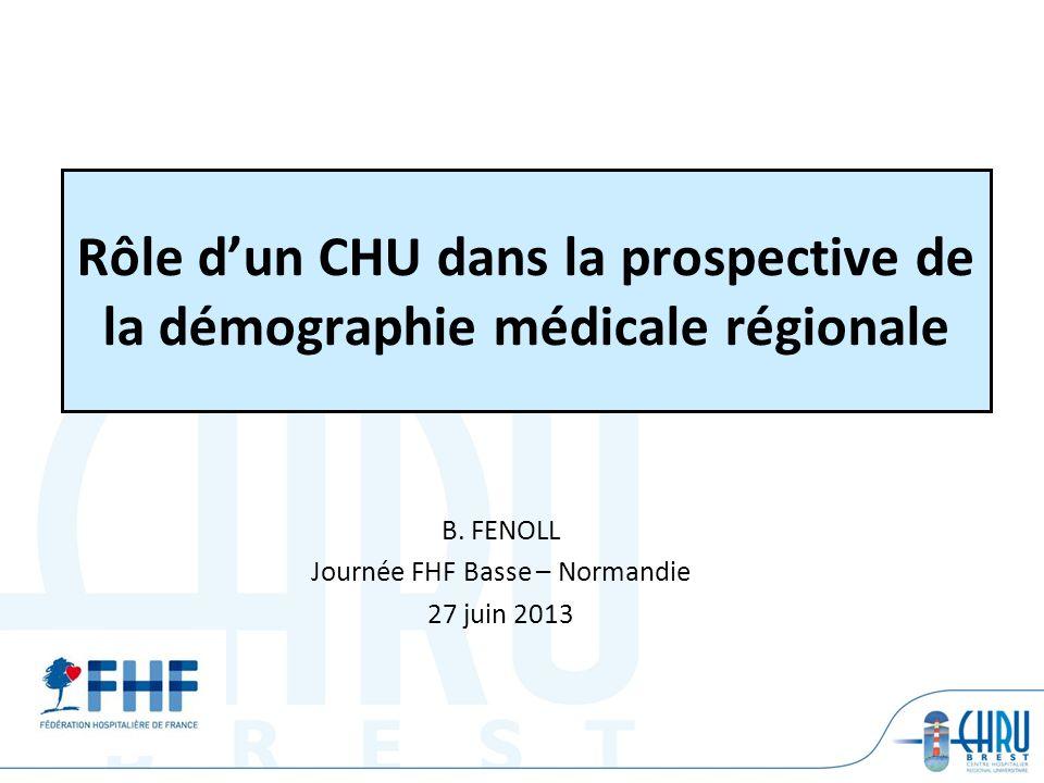Rôle d'un CHU dans la prospective de la démographie médicale régionale