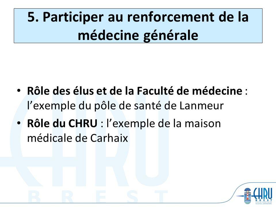 5. Participer au renforcement de la médecine générale