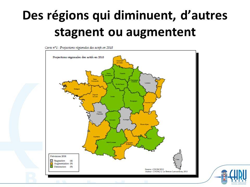 Des régions qui diminuent, d'autres stagnent ou augmentent