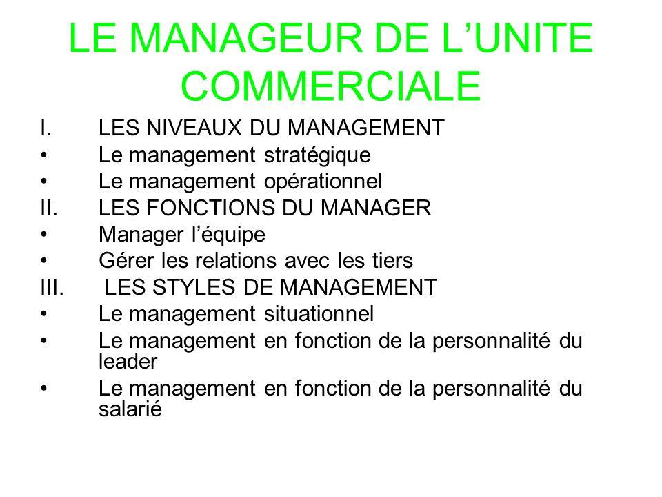 LE MANAGEUR DE L'UNITE COMMERCIALE