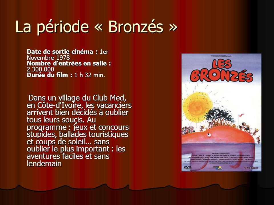 La période « Bronzés » Date de sortie cinéma : 1er Novembre 1978 Nombre d entrées en salle : 2.300.000 Durée du film : 1 h 32 min.