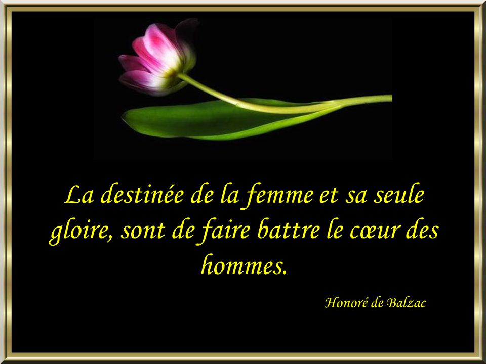 La destinée de la femme et sa seule gloire, sont de faire battre le cœur des hommes.