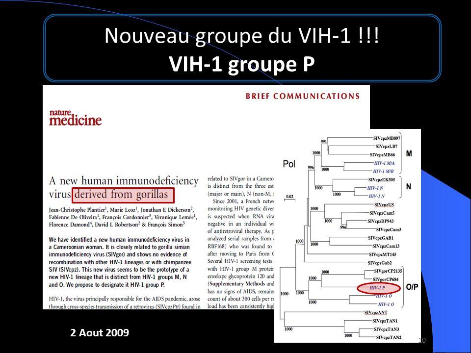 Nouveau groupe du VIH-1 !!! VIH-1 groupe P 2 Aout 2009 10