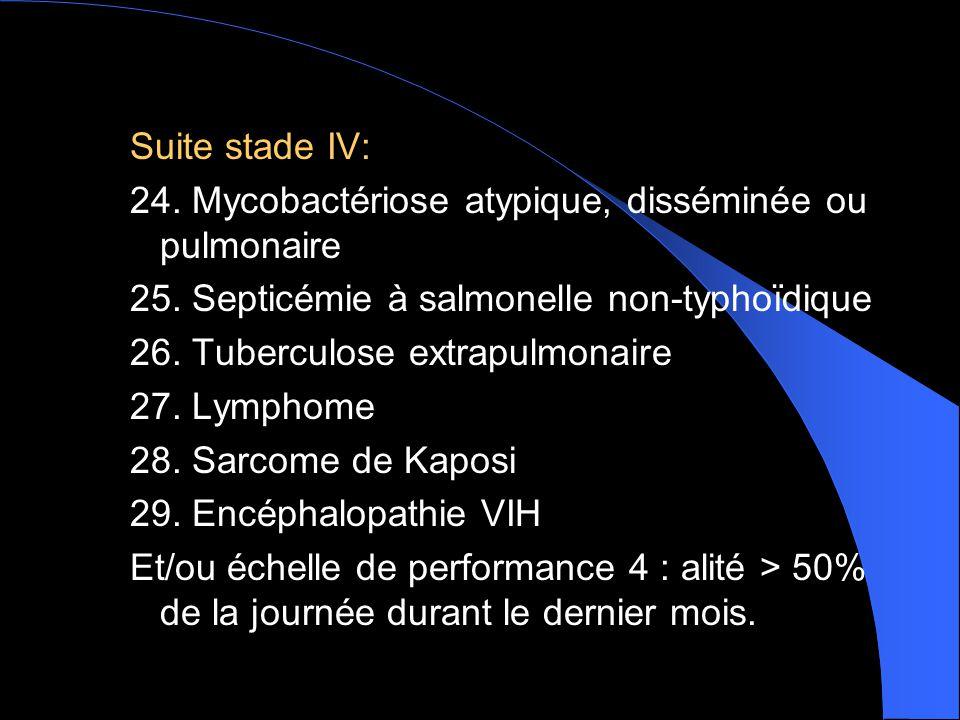 Suite stade IV: 24. Mycobactériose atypique, disséminée ou pulmonaire. 25. Septicémie à salmonelle non-typhoïdique.