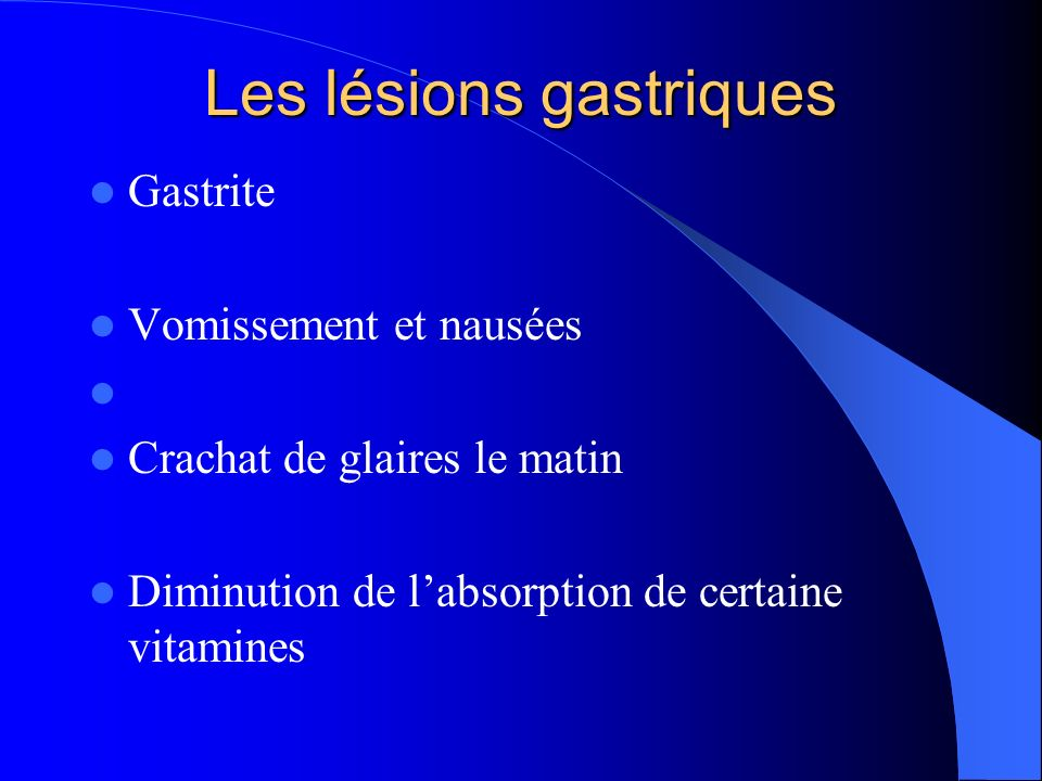 Les lésions gastriques
