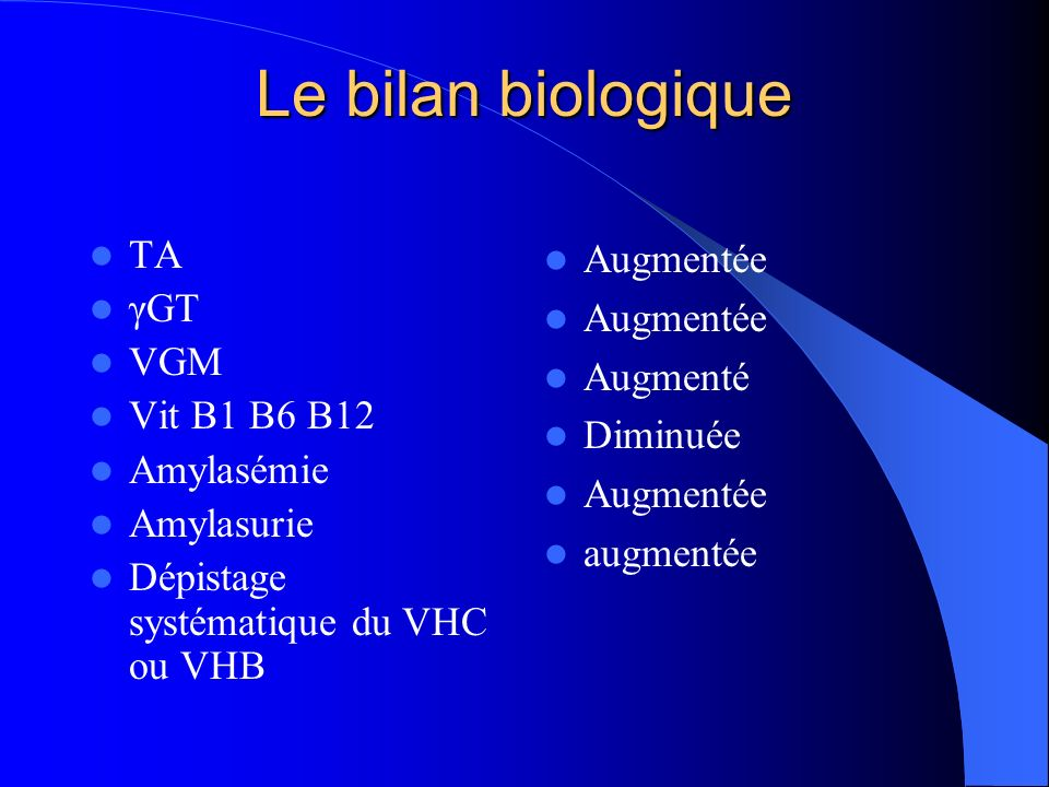 Le bilan biologique TA γGT VGM Vit B1 B6 B12 Amylasémie Amylasurie