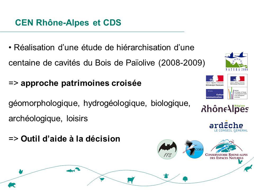CEN Rhône-Alpes et CDS Réalisation d'une étude de hiérarchisation d'une centaine de cavités du Bois de Païolive (2008-2009)