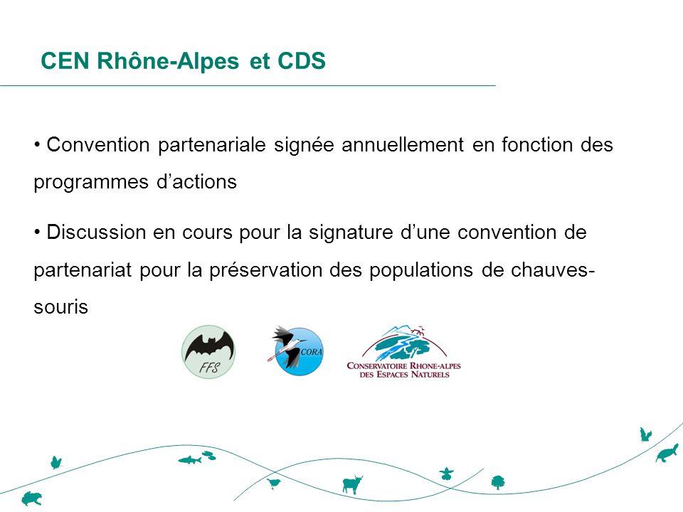 CEN Rhône-Alpes et CDS Convention partenariale signée annuellement en fonction des programmes d'actions.