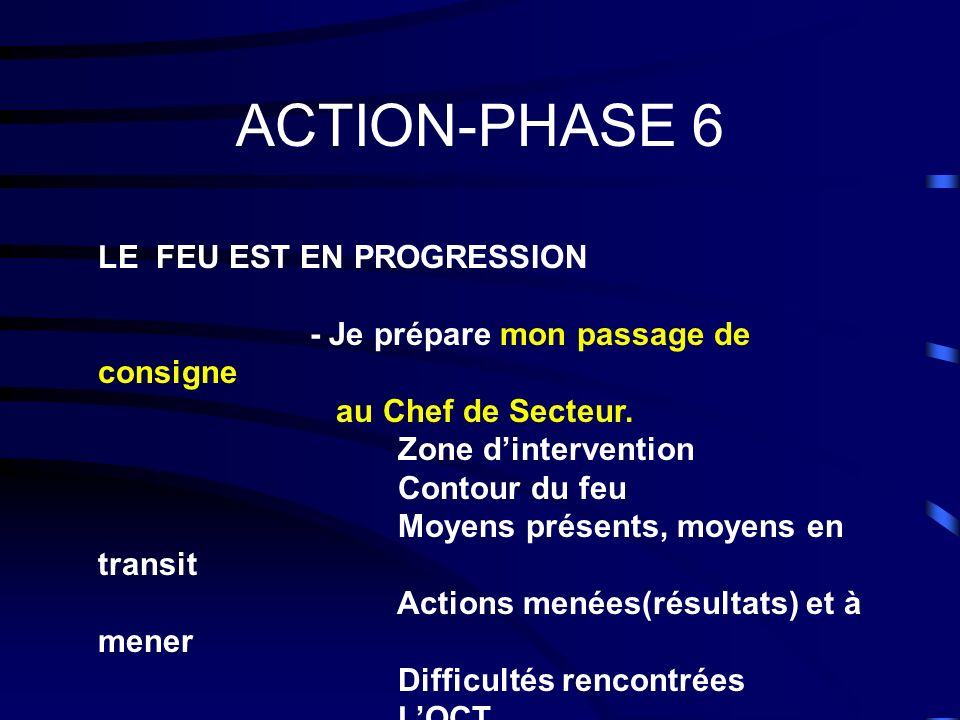 ACTION-PHASE 6 LE FEU EST EN PROGRESSION
