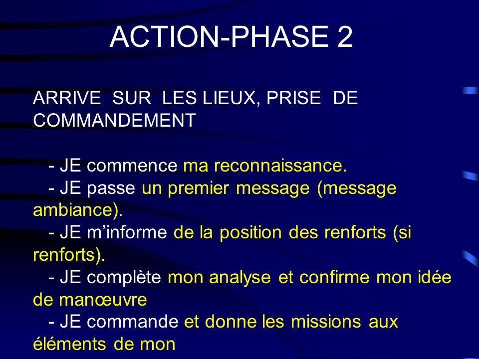 ACTION-PHASE 2 ARRIVE SUR LES LIEUX, PRISE DE COMMANDEMENT