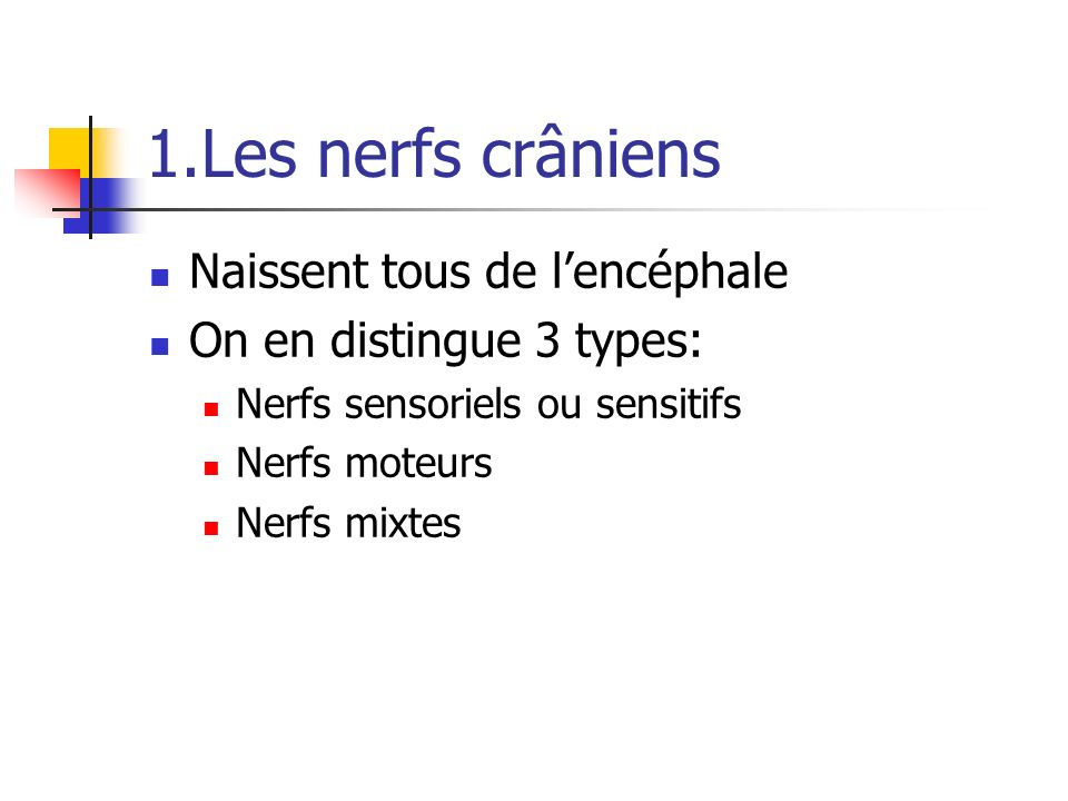 1.Les nerfs crâniens Naissent tous de l'encéphale